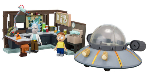 RICK & MORTY SET SPACESHIP & GARAGE MCFARLANE