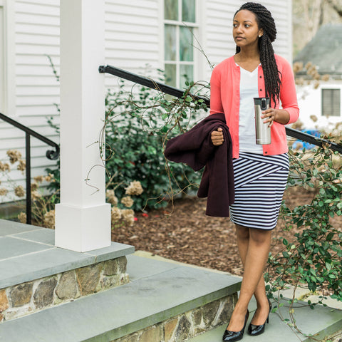 Fractured Linear Pencil Skirt with Coral Cardigan