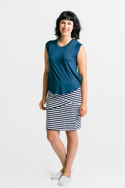 Fractured Linear Skirt and Teal Tee