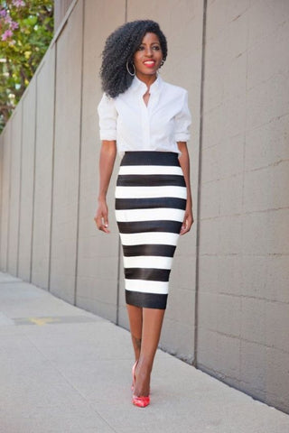 White Blouse and Stripes