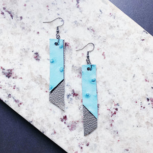 Katherine Leather Earrings - Pale Blue + Silver