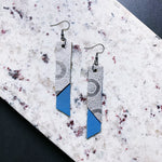Katherine Leather Earrings - Silver + Blue