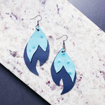 Josephine Leather Earrings - Pale Blue + Navy