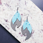 Josephine Leather Earrings - Pale Blue + Silver