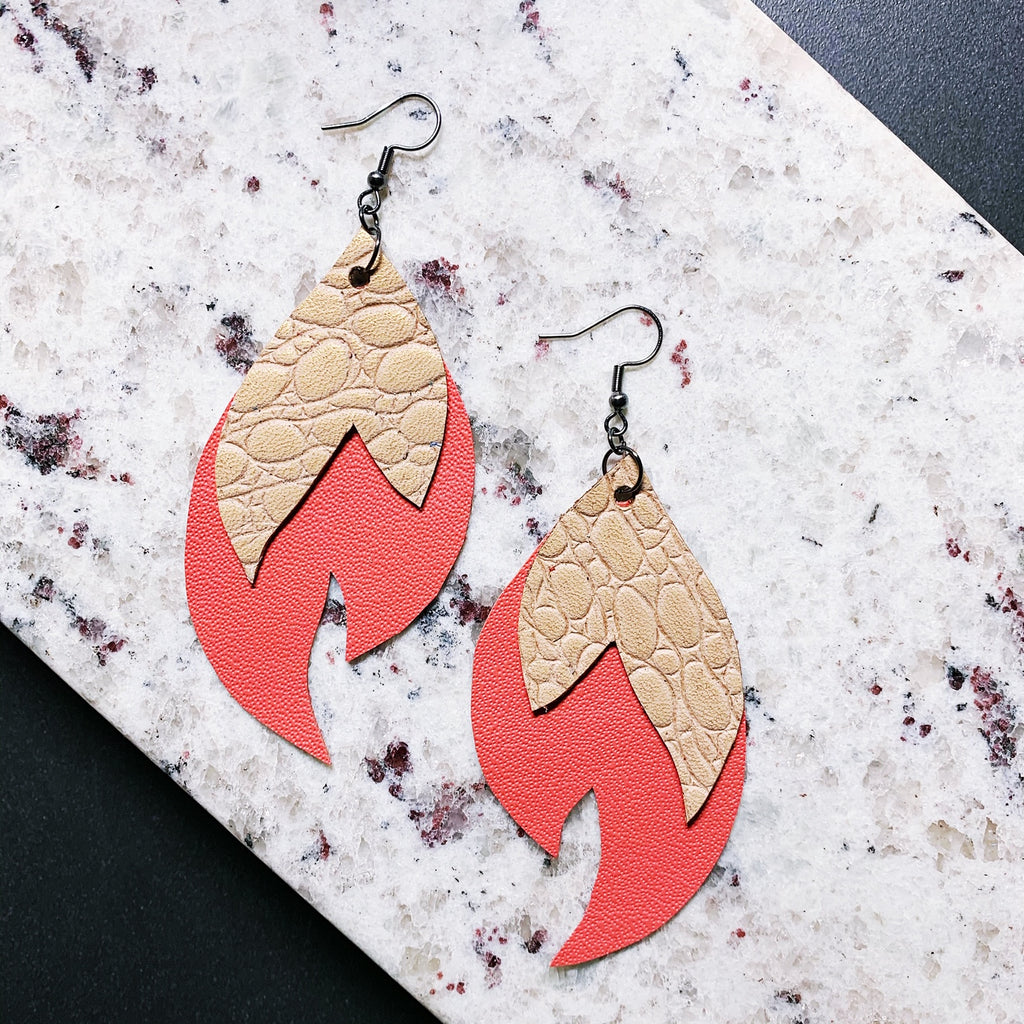 Josephine Leather Earrings - Gold + Coral