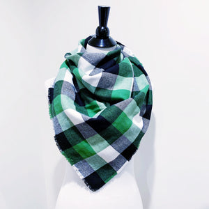 Blanket Scarf - Green/Black/White Plaid