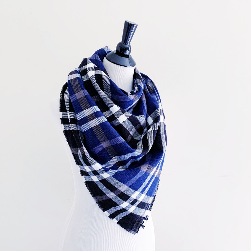 Blanket Scarf - Navy/Black/White Plaid