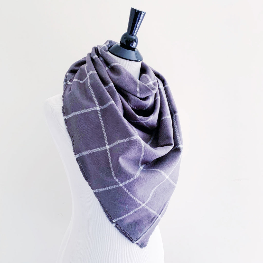 Blanket Scarf - Gray Windowpane Plaid