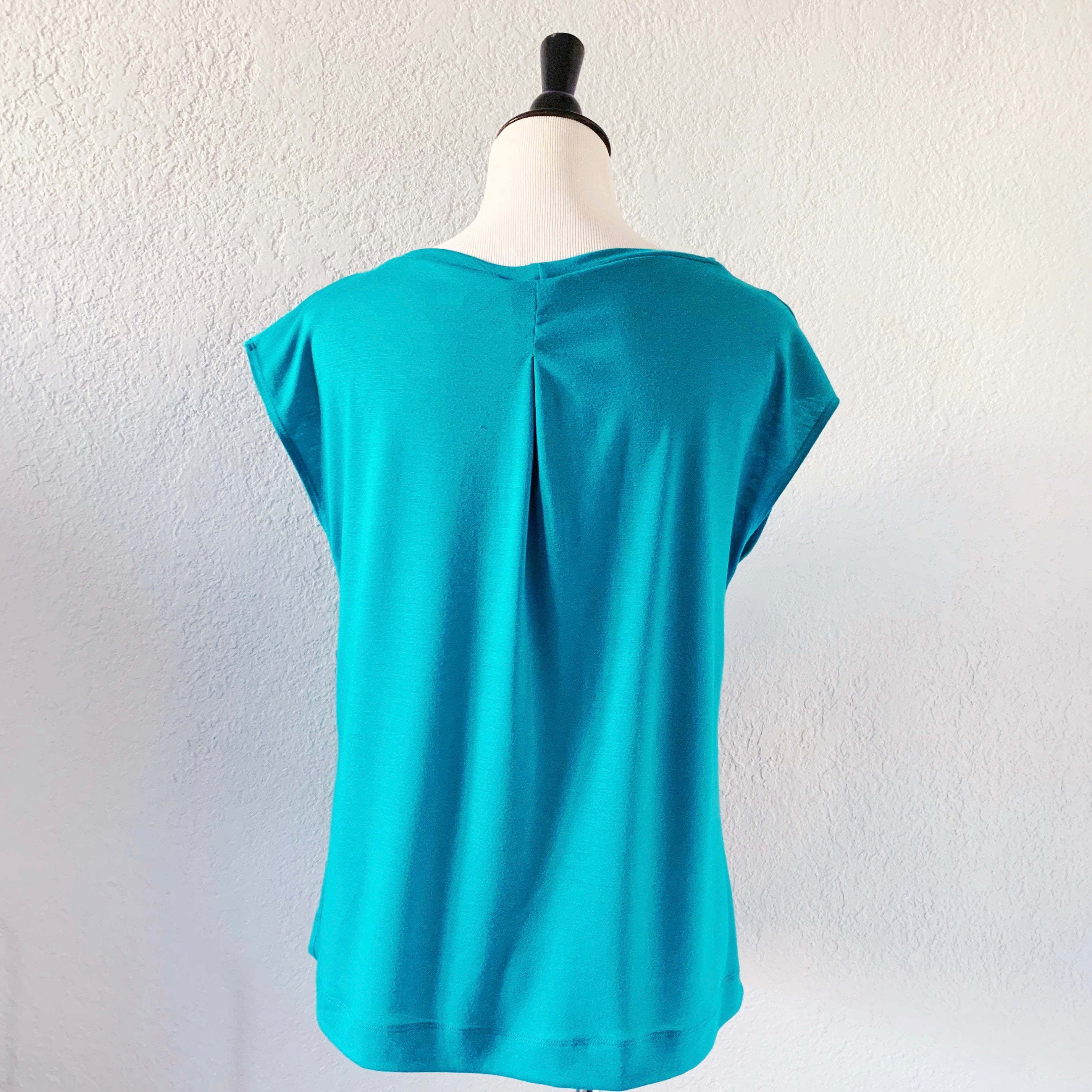 Single Tuck Drape Top - Aqua