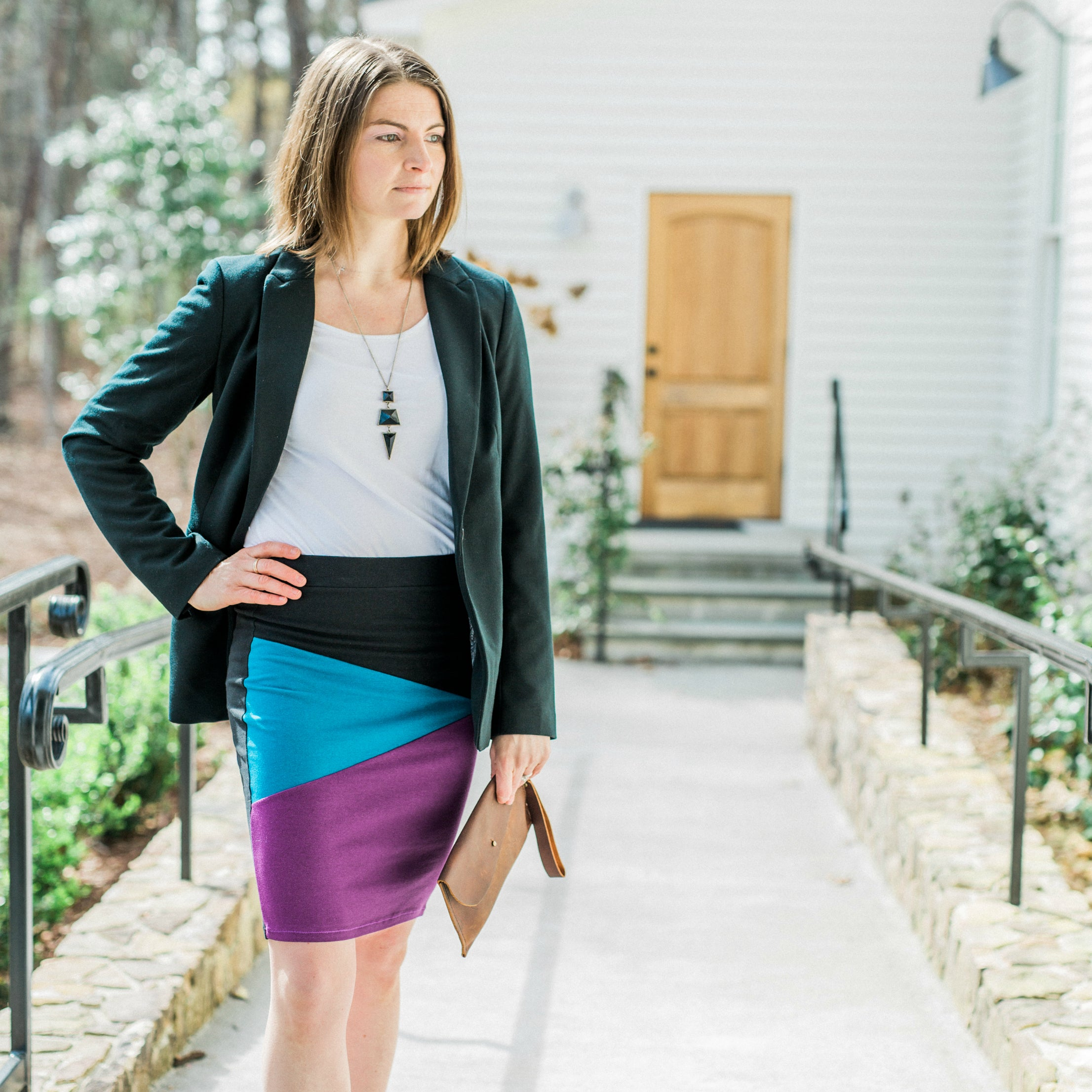 Fractured Color Block Skirt - Jewel Tones