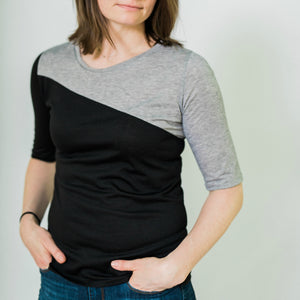 Diagonal Color Block Top (Black/Heather)