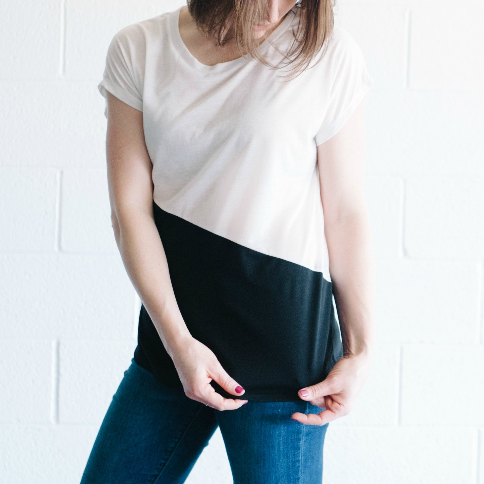 Diagonal Color Block Top (White/Black)