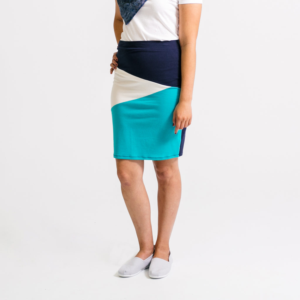 Fractured Color Block Skirt - Cool Blues