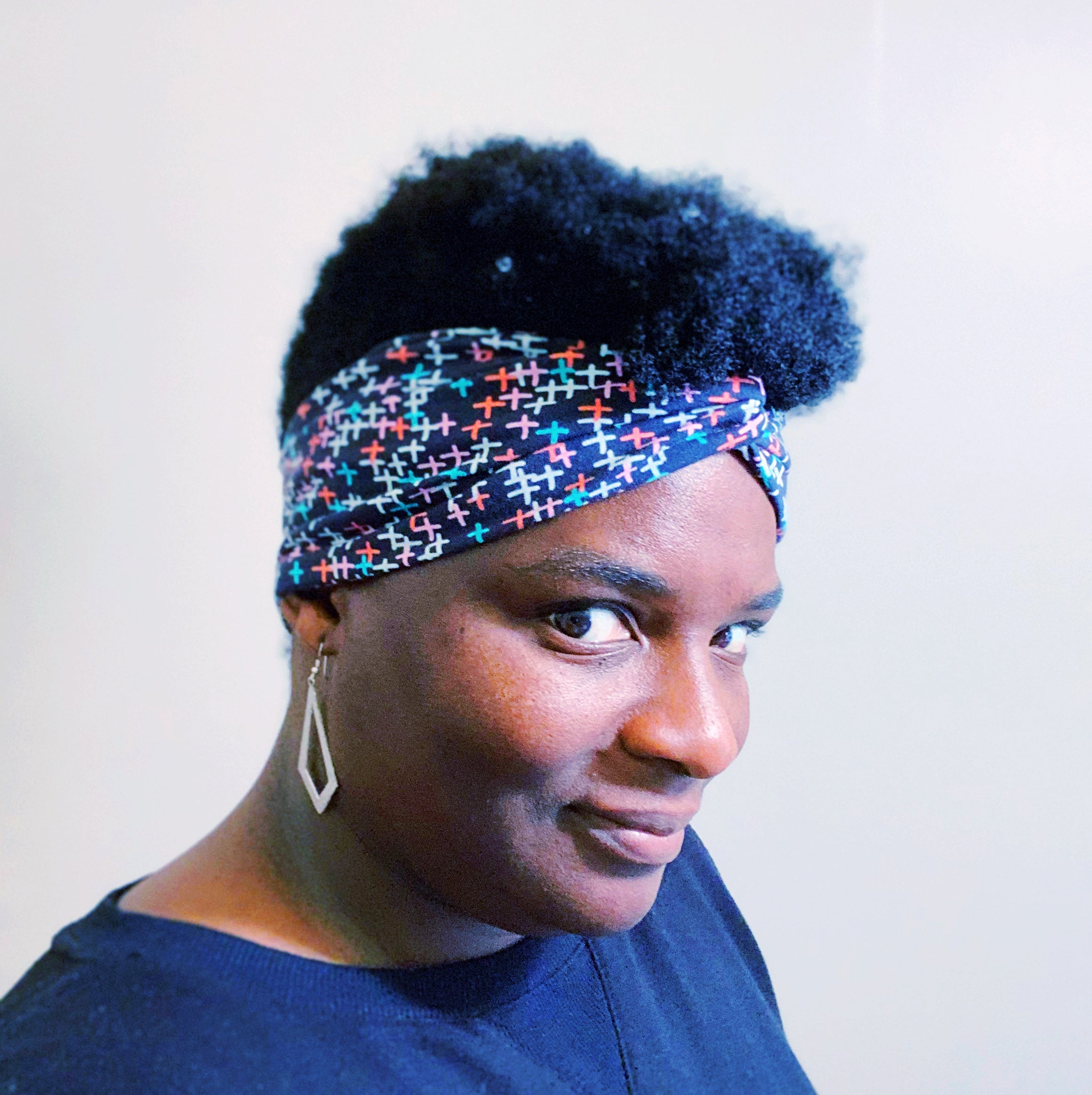 Twist Headband - Blue Grid