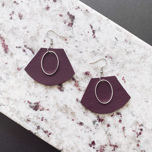 Maya Leather Earrings - Merlot