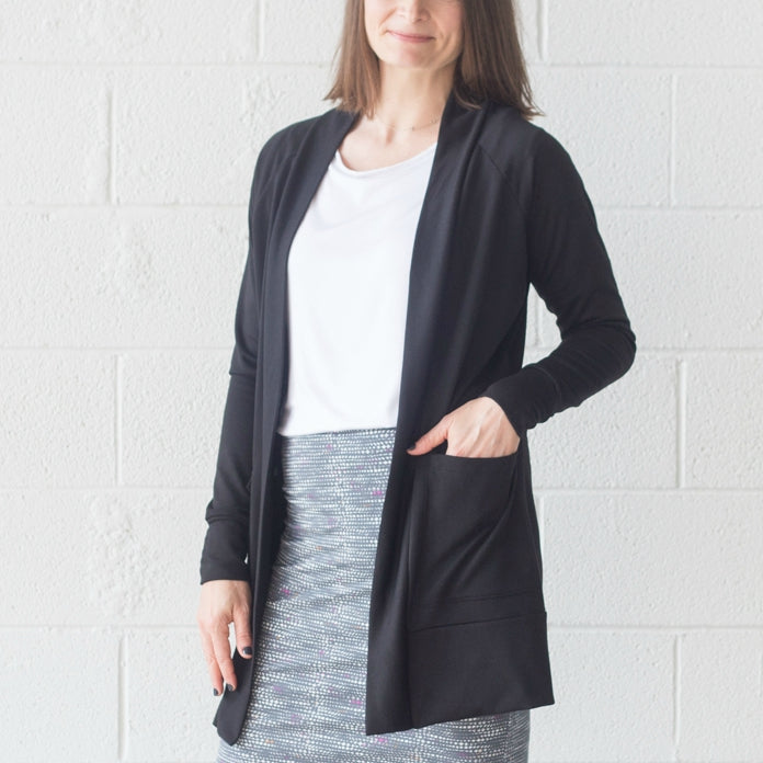 Tetragon Pocket Cardigan - Black