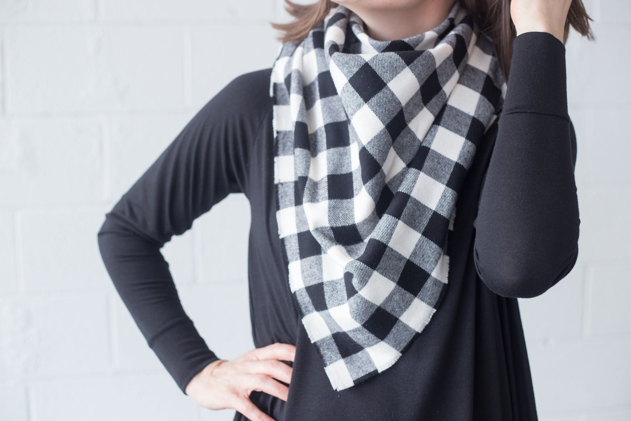 Blanket Scarf - White Windowpane Plaid