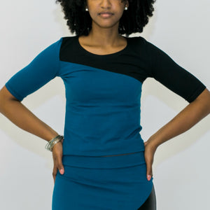 Diagonal Color Block Top (Black/Teal)