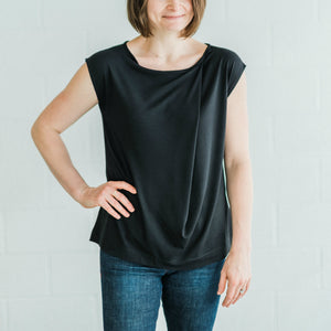 Single Tuck Drape Top - Black