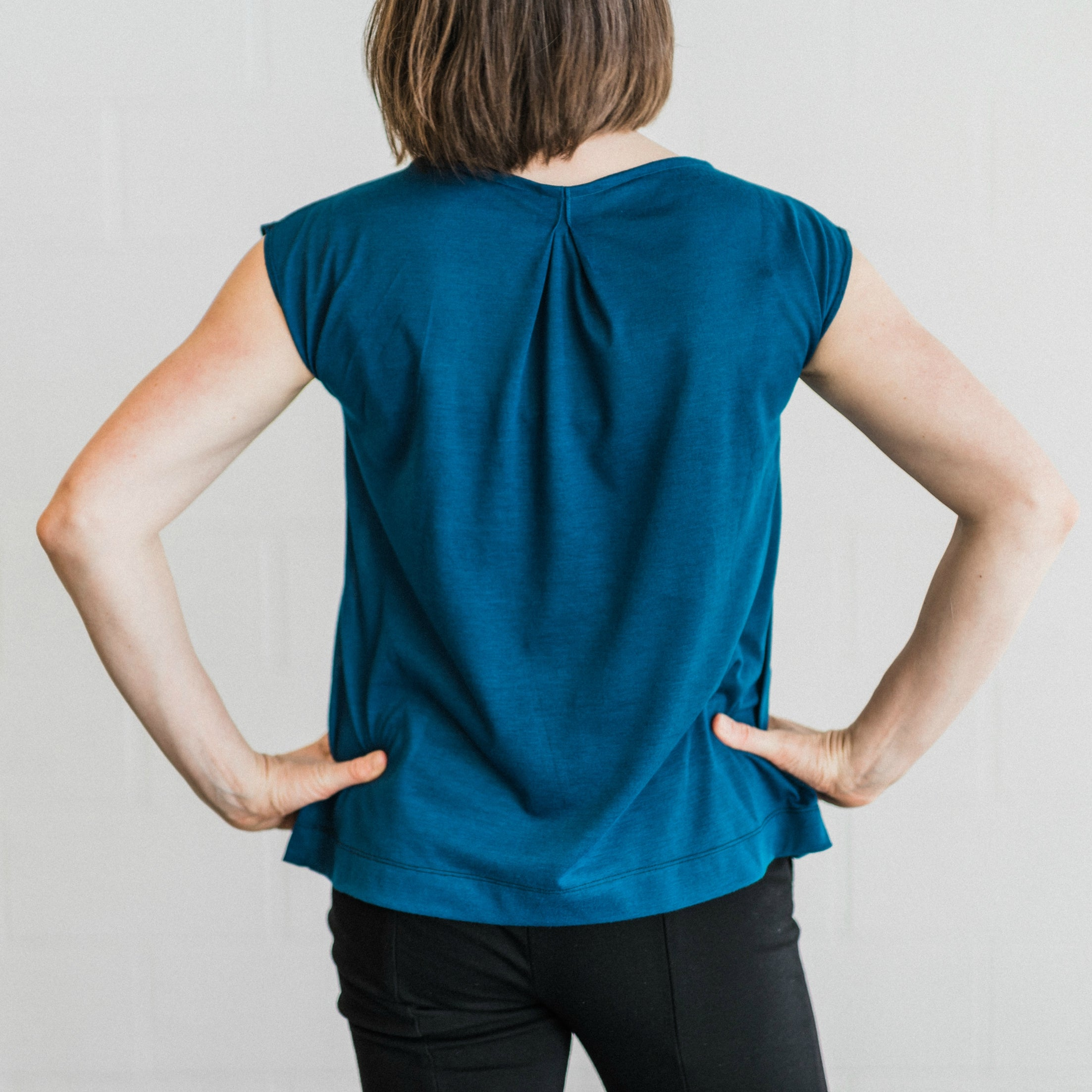Single Tuck Drape Top - Teal