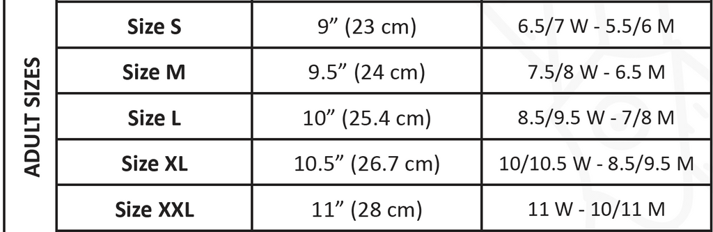 Slipper Size Chart