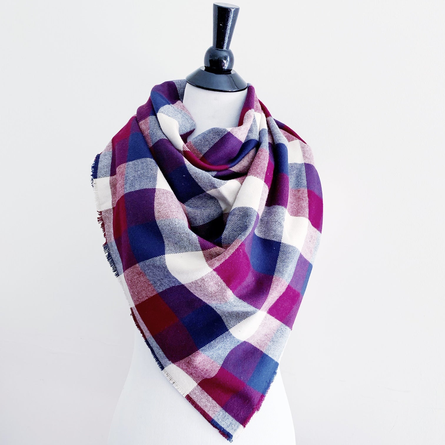 Blanket Scarf - Burgundy/Navy/Cream Plaid