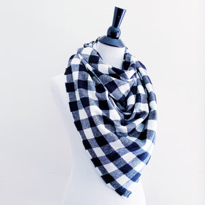 Blanket Scarf - Black/White Buffalo Plaid