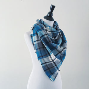 Blanket Scarf - Teal/Gray/White
