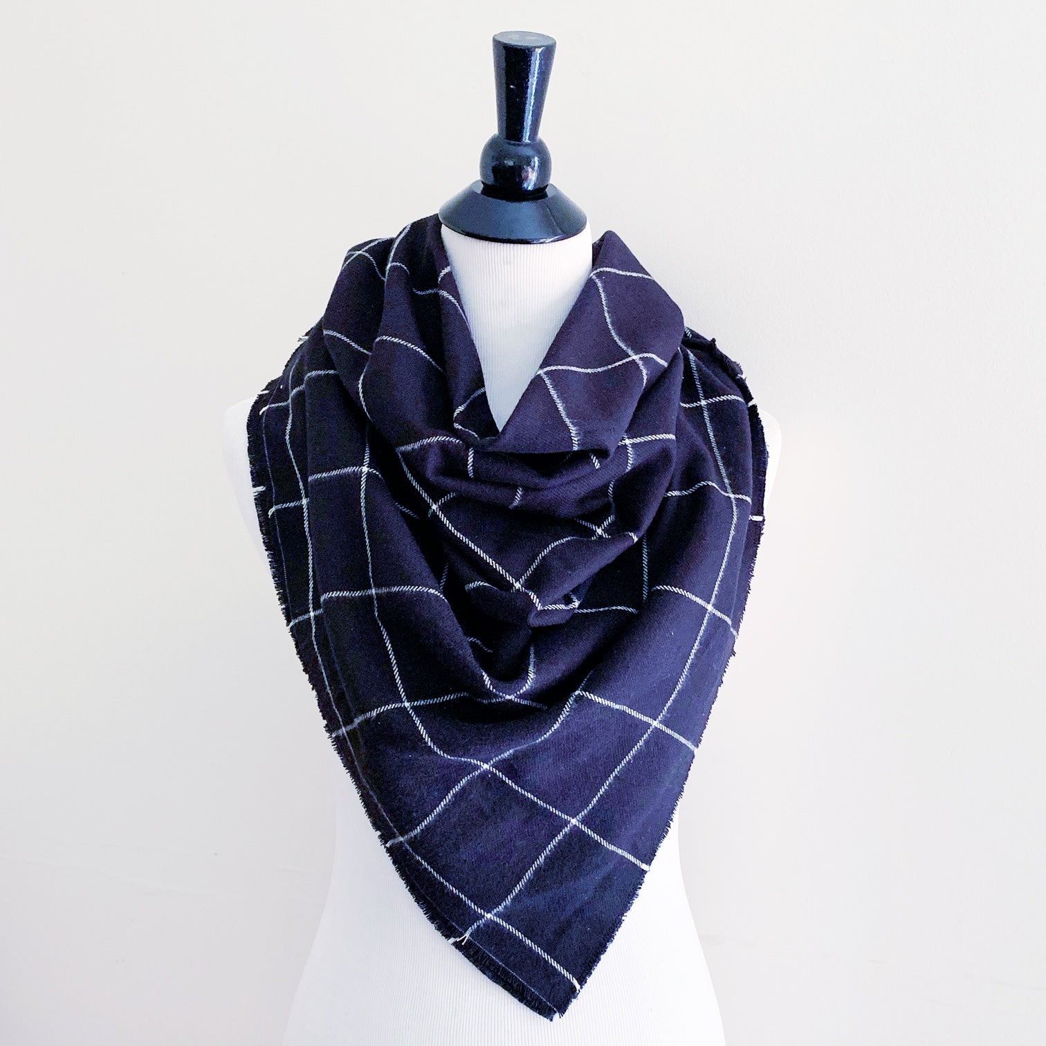Blanket Scarf - White on Black Plaid