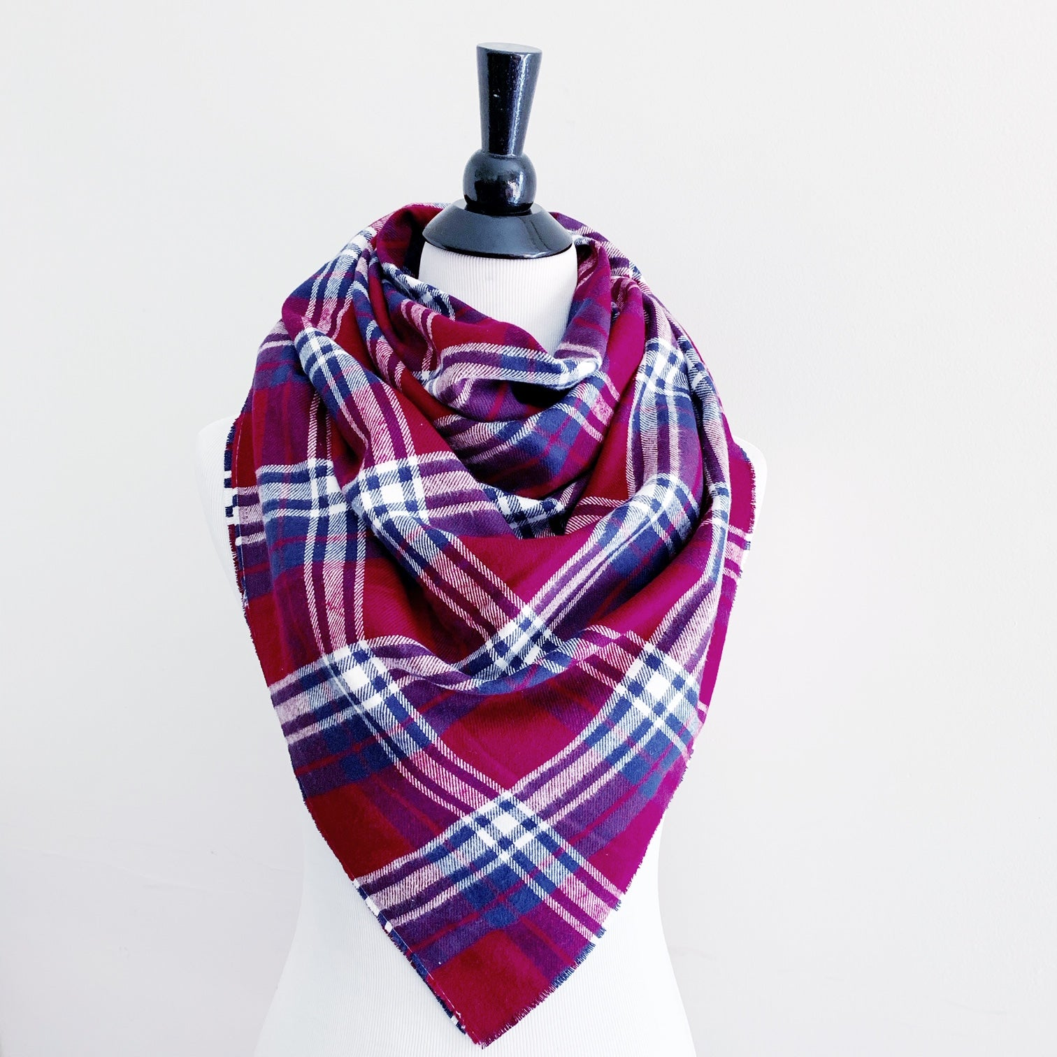 Blanket Scarf - Red/Navy/White Plaid