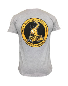 Pound for Pound BJJ T Shirt Team Logo GREY