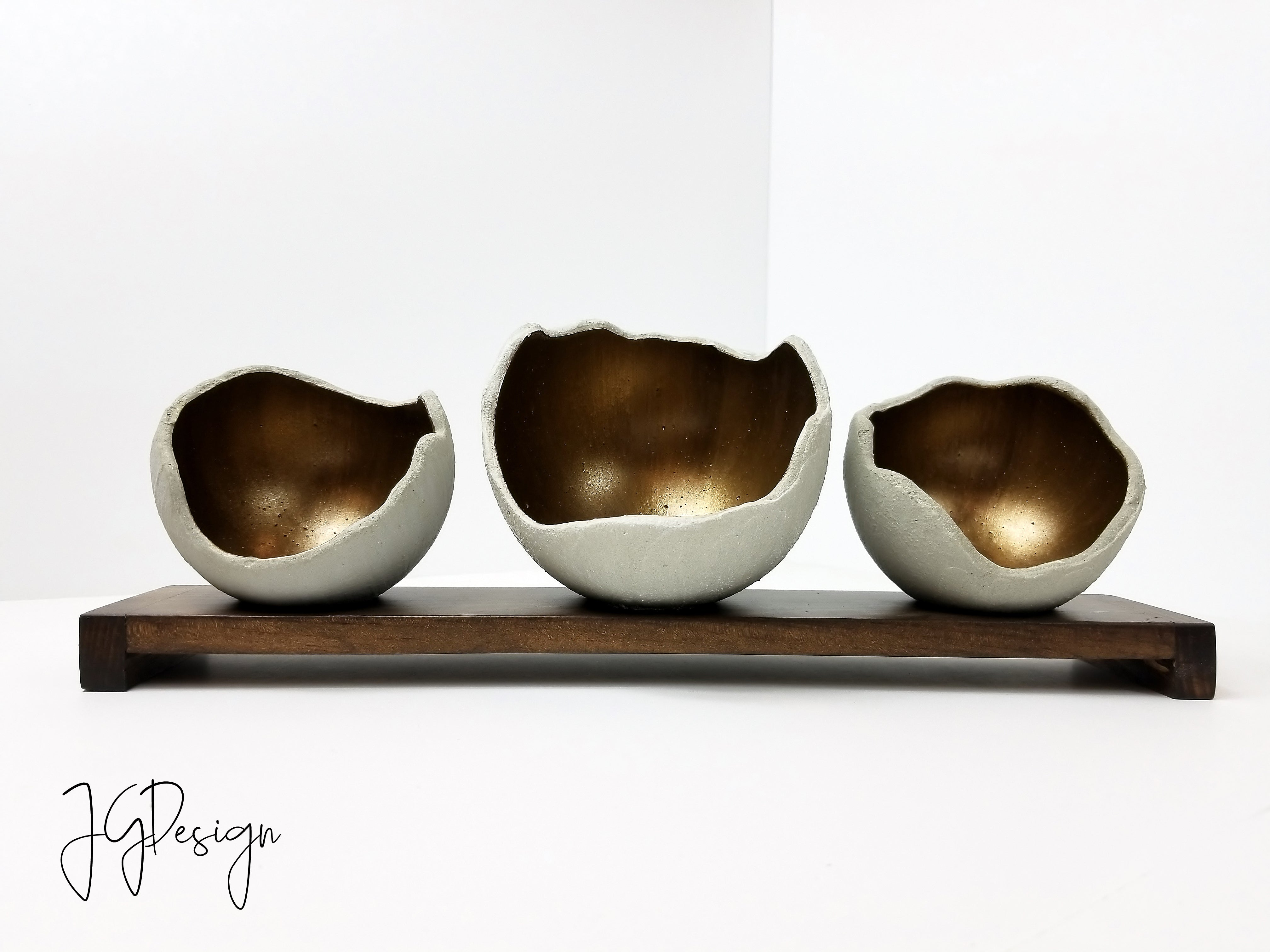 Set of 3 Concrete Bowls w/ Stand