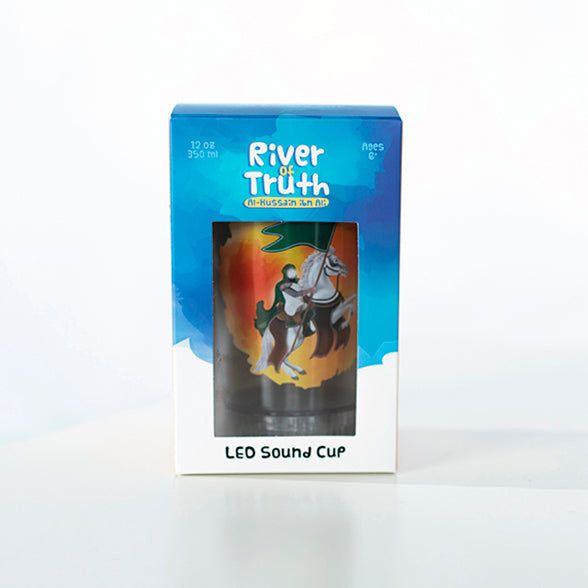 "The ""River of Truth Al-Hussain Ibn Ali"" is a cup with LED lights and sound. It is a very simple way for kids to keep Imam Al-Hussain (peace be upon him) in their thoughts year-round, and to become more and more familiar with him."