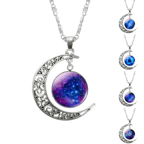 Hollow Moon & Glass Galaxy Statement Necklaces Silver Chain Pendant