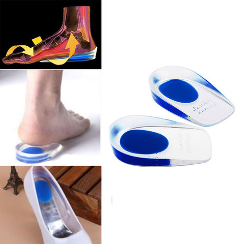 1 Pair Silicon Gel Heel Cushion Insoles Soles Relieve Foot Pain Protectors
