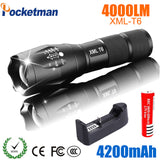 Powerful LED Rechargeable T6 4000 Lumens Flashlight For Outdoor Camping