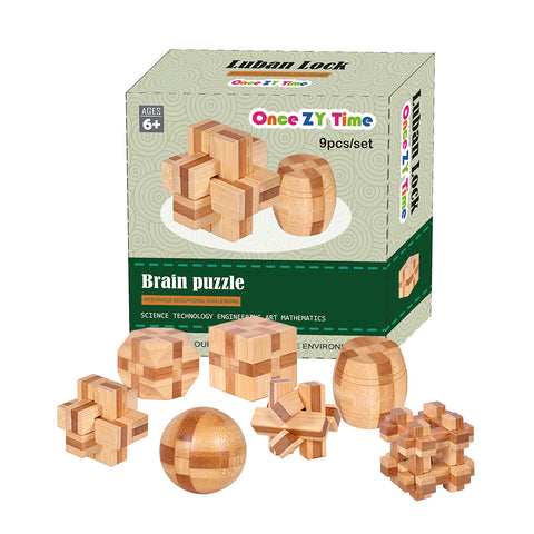 7pcs/lot 3D Eco-Friendly Bamboo Wooden Toys IQ Brain Teaser  For Kids