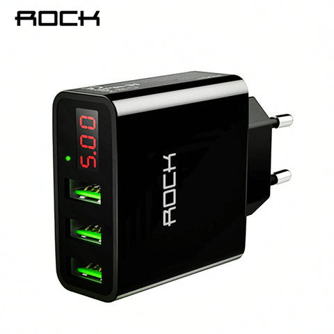3 Port USB Charger With LED Digital Display 2.4A Fast Phone Wall Charge For Smart Phones