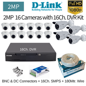 D-Link 2MP 16FullHD CCTV Cameras with 16Ch. FullDVR Combo Kit