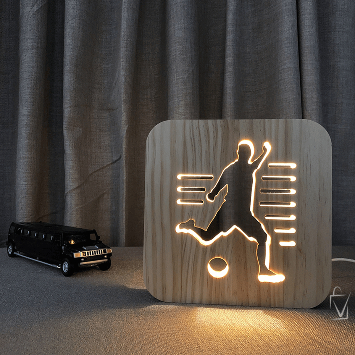 The Unique Wooden LED Football Lamp
