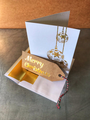 GOLD FOIL STAMPED CHRISTMAS CARD | WITH HANG TAG
