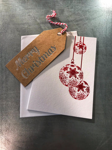 RED FOIL STAMPED CHRISTMAS CARD | WITH HANG TAG