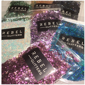Rebel Glitters art work sparkle pigments glitter rose gold crystals opal flakes malachite amethyst Brown Topaz gold blue green rainbow white purple turquoise abstract art how to