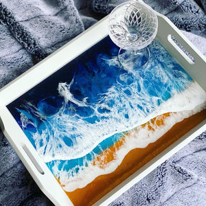 Resin art seascapes waves cells white epoxy paste blue sand tutorial tutorials glitter geode Malachite hydra peacock