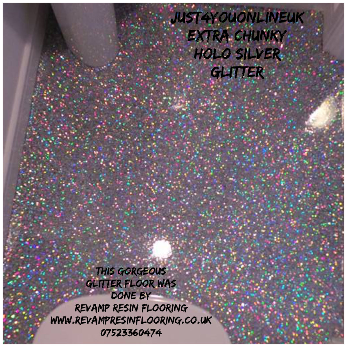 Chunky Holographic Silver Glitter Floor Flooring Home
