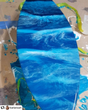 Surf art board glitter blue Rebel Glitters resin artist