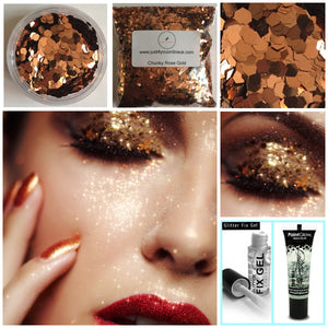 Rose Gold Glitter Large chunky flakes eyeshadow nails salons beauty makeup nails eye shadow