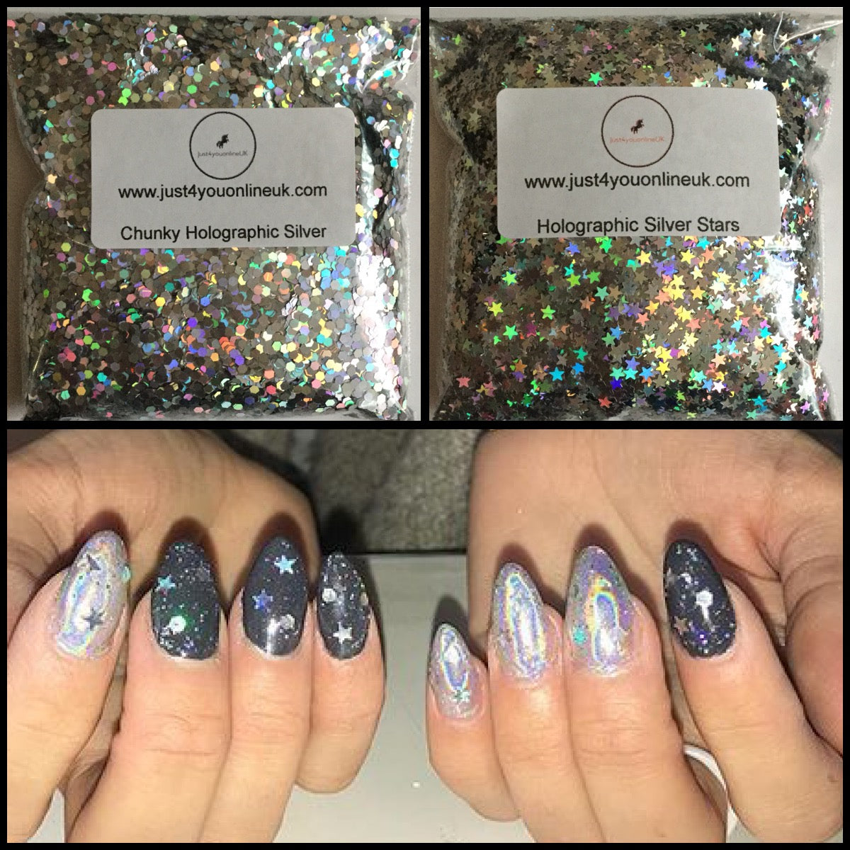 100g CHUNKY 2mm SILVER SQUARE SEQUIN FESTIVAL FACE GLITTER NAIL ART CRAFTS