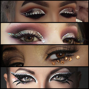 Glitter trends 2018 fashion trends sequins sparkle jewels crystals Rhinestones Gems tattoos deals discounts bargain eye makeup beauty trends