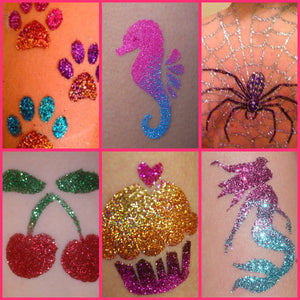 Love these Glitter Tattoo designs 😍Our glitter is 100% non toxic and non skin irritant 🦄 #glittertattoos #glitter #tattoos #tattoo #tats #glittertattoo #facepaint #bodypaint #child #glitterart #ybody #bodyglitter #makeupartist #facepainter #sparkle #potd